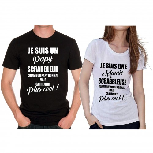 "Tee shirt ""Grands-parents Scrabbleurs mais carrément plus cool"""