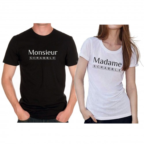 "Tee shirt ""Monsieur et Madame Scrabble"""