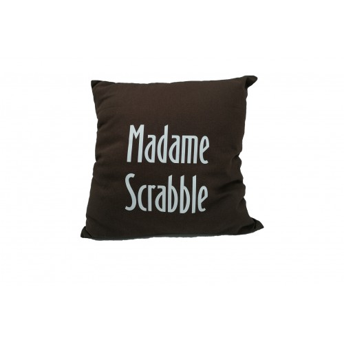 "Coussin ""Madame Scrabble"" - Marron"